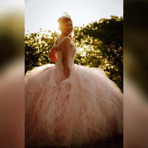 Marvelous V-neck Tulle Ball Gown Quinceanera Dress_2