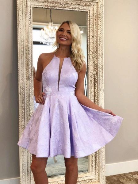 Deep-V-Neck Halter Appliques A-Line Sleeveless Homecoming Dress_2