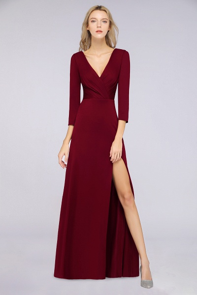 A-Line Spandex V-Neck Long-Sleeves Side-Slit Floor-Length Bridesmaid Dress with Ruffles_34