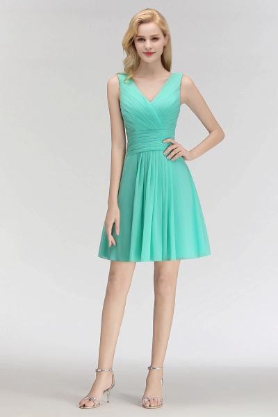 BM0061 A-line Ruffles Sexy V-Neck Sleeveless Short Bridesmaid Dress_5