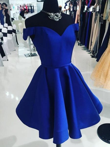 Simple Off-the-Shoulder V-Neck Homecoming Dress_1