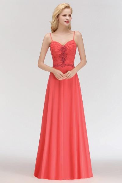 BM0084 Elegant Spaghetti Straps Ruffles Appliques Bridesmaid Dress_4