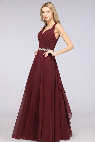 A-Line Chiffon Halter V-Neck Sleeveless Ruffle Floor-Length Bridesmaid Dress with Appliques Sashes_5