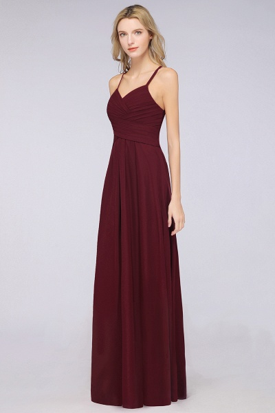 A-Line Chiffon Halter V-Neck Sleeveless Floor-Length Bridesmaid Dress with Ruffles_40