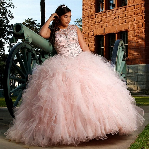 Affordable Jewel Tulle Ball Gown Quinceanera Dress_1