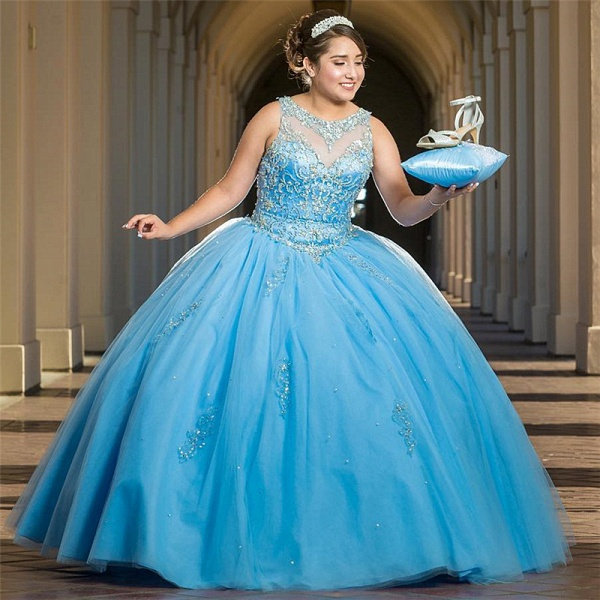Precious Jewel Tulle Ball Gown Quinceanera Dress_1