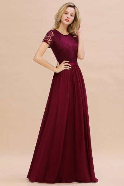 BM0831 Chiffon Lace Scoop Short Sleeve Bridesmaid Dress_54