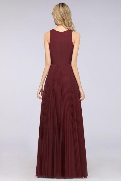 A-Line Satin Chiffon V-Neck Sleeveless Floor-Length Bridesmaid Dress with Ruffles_2