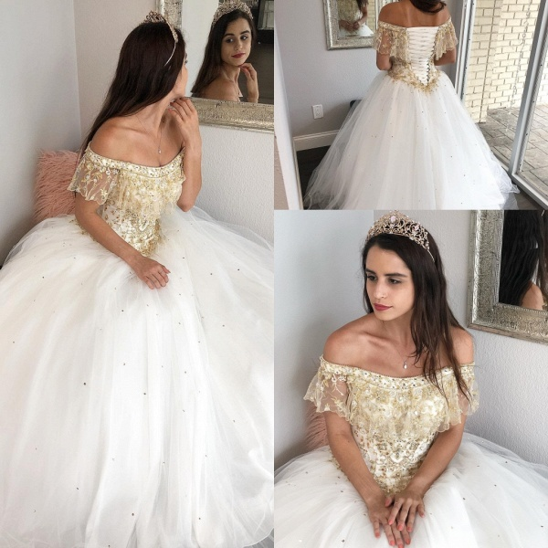 Fascinating Off-the-shoulder Tulle Ball Gown Quinceanera Dress_3