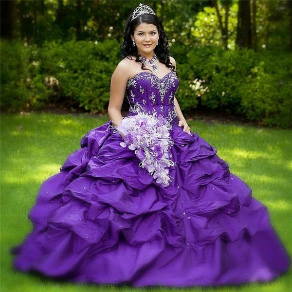 Modest Halter Taffeta Ball Gown Quinceanera Dress_1