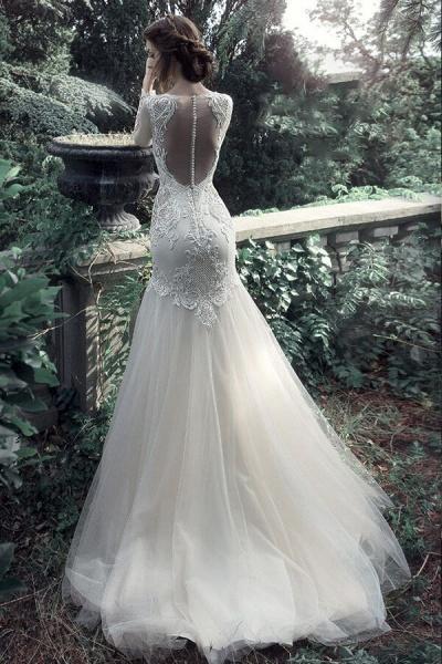 Long Sleeve Mermaid Tulle Stain Wedding Dress_3