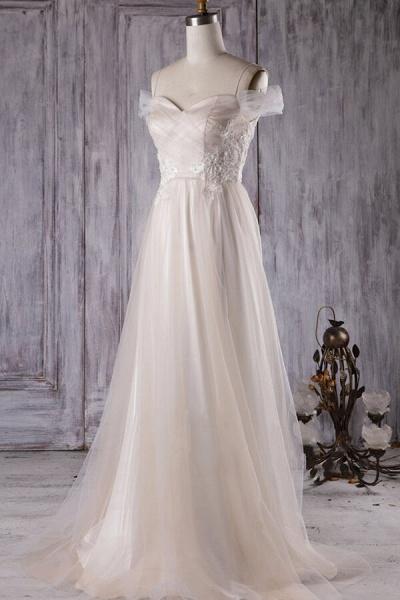 Elegant Cold-shoulder Sweep Train Wedding Dress_2
