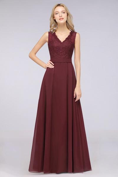 A-Line Chiffon Lace V-Neck Sleeveless Floor-Length Bridesmaid Dress_35