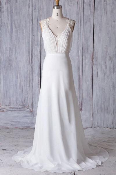 Affordable Ruffle Chiffon Sheath Wedding Dress_1