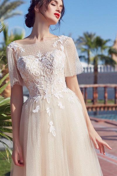 Appliques Short Sleeve Court Train Wedding Dress_4