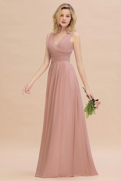 BM0752 Elegant A-line V-Neck Ruffles Long Bridesmaid Dress_6
