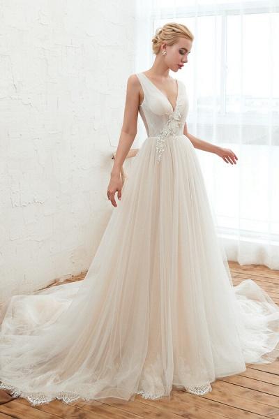 Awesome V-neck Chapel Train Tulle Wedding Dress_4