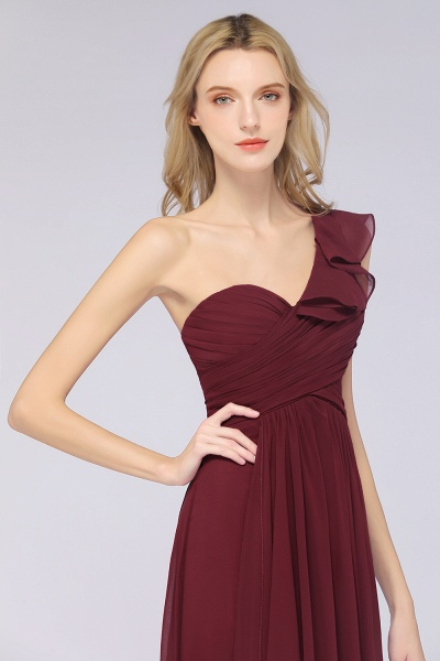 A-Line Chiffon One-Shoulder Sweetheart Sleeveless Floor-Length Bridesmaid Dress with Ruffles_7