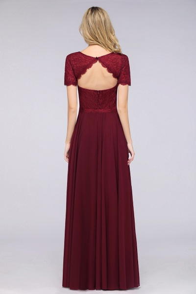 A-Line Chiffon Lace Round-Neck Short-Sleeves Floor-Length Bridesmaid Dress_2