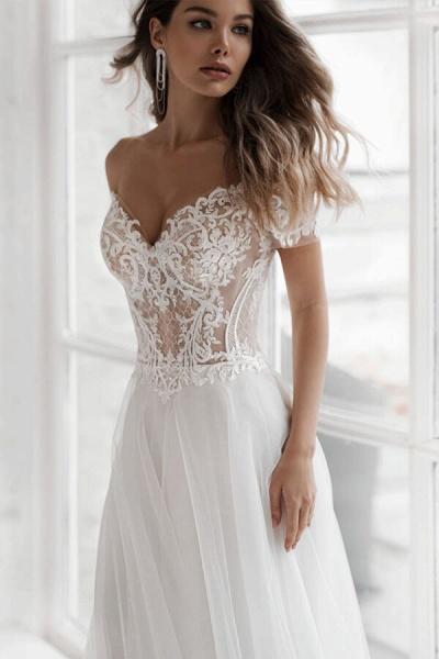 Elegant Short Sleeve Appliques Tulle Wedding Dress_4