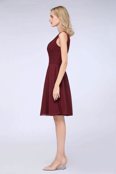 A-Line Chiffon One-Shoulder Sweetheart Sleeveless Knee-Length Bridesmaid Dress with Ruffles_41