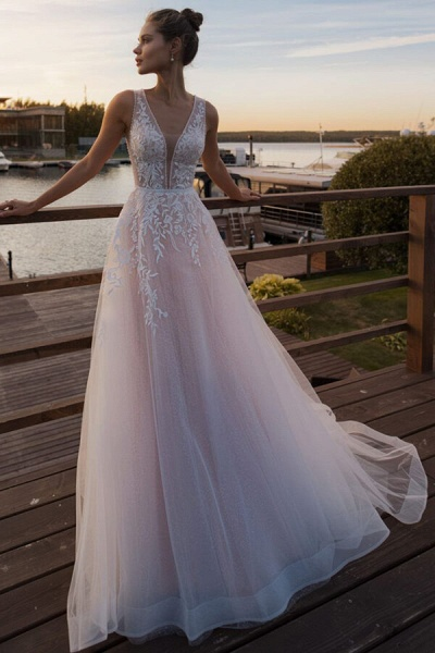 V-neck Lace Tulle Cathedral Train Wedding Dress_1