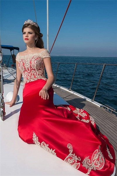 Fabulous Square Stretch Satin A-line Evening Dress_1
