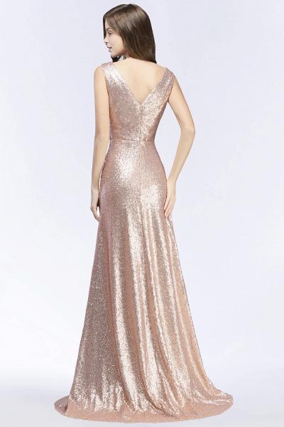 Elegant A-line Sequined V-Neck Sleeveless Floor-Length Bridesmaid Dresses_2