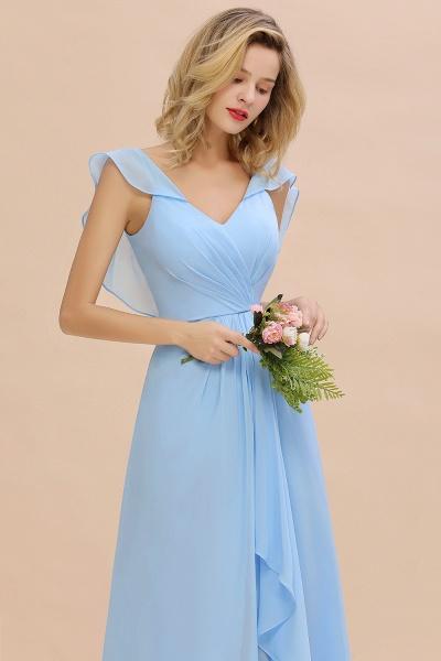 BM0777 Simple Hi-Lo V-Neck Ruffles Long Bridesmaid Dress_7