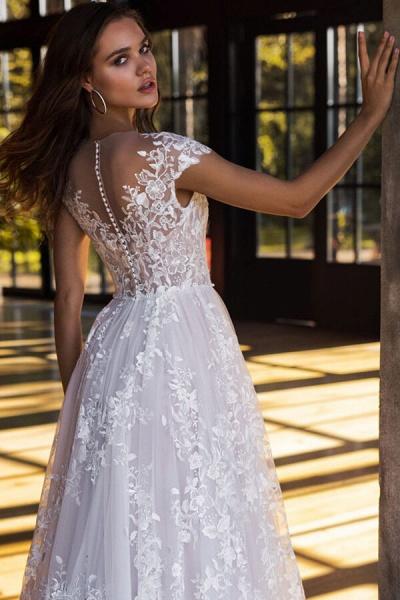 Charming Cap Sleeve A-line Tulle Wedding Dress_5