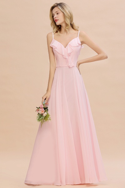 BM0784 Stylish Straps V-neck A-line Long Bridesmaid Dress_4