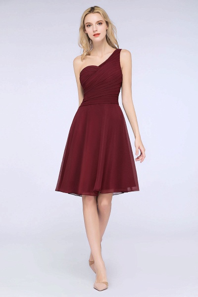 A-Line Chiffon One-Shoulder Sweetheart Sleeveless Knee-Length Bridesmaid Dress with Ruffles_37