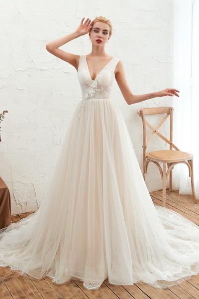 Awesome V-neck Chapel Train Tulle Wedding Dress_1