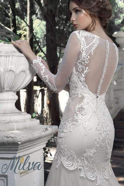 Long Sleeve Mermaid Tulle Stain Wedding Dress_5