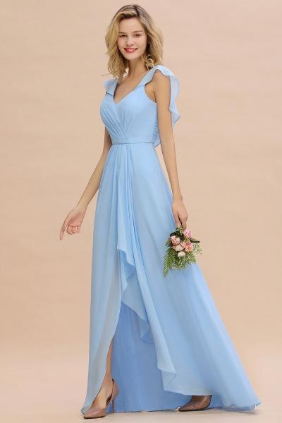 BM0777 Simple Hi-Lo V-Neck Ruffles Long Bridesmaid Dress_53
