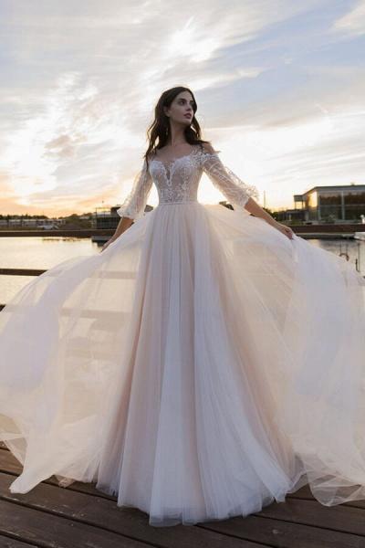 Eye-catching Lace Tulle Chapel Train Wedding Dress_1
