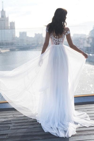Front Slit Appliques Tulle A-line Wedding Dress_3