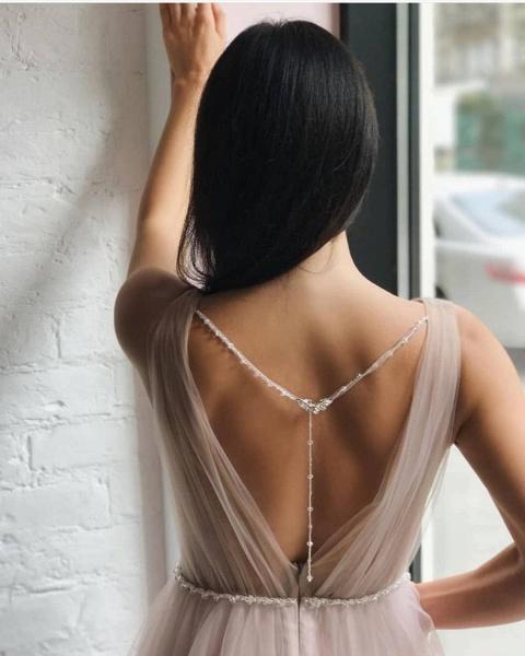 Affordable V-neck Tulle A-line Evening Dress_2