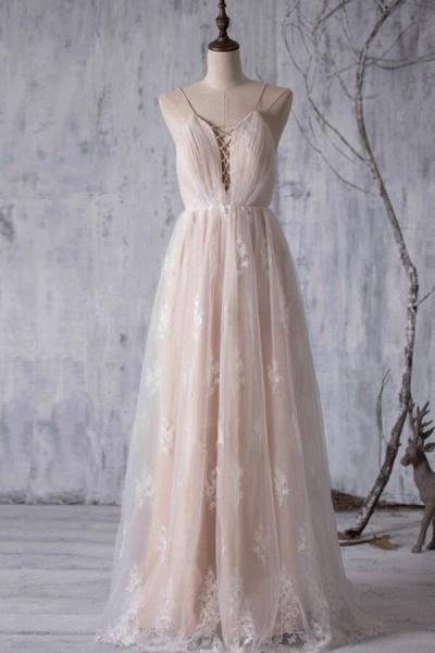 Spaghetti Strap Ruffle Lace A-line Wedding Dress_1
