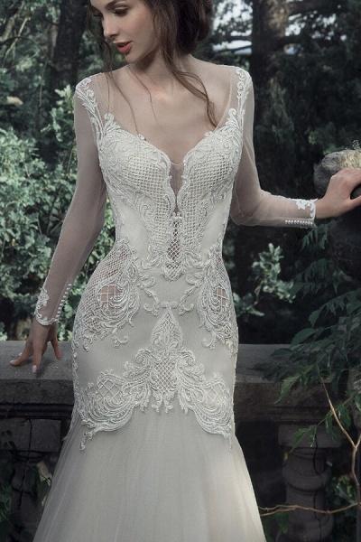 Long Sleeve Mermaid Tulle Stain Wedding Dress_4