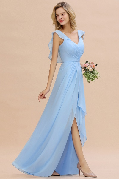 BM0777 Simple Hi-Lo V-Neck Ruffles Long Bridesmaid Dress_54