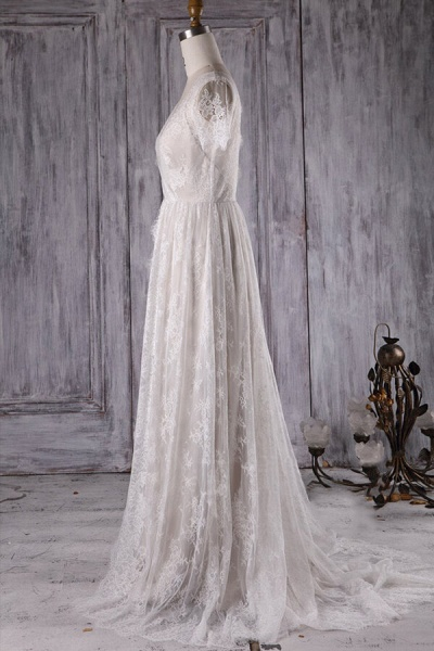 Elegant Short Sleeve A-line Lace Wedding Dress_3