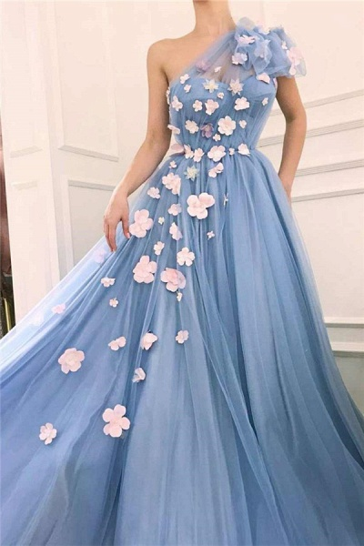 Fascinating One Shoulder Tulle A-line Evening Dress_2