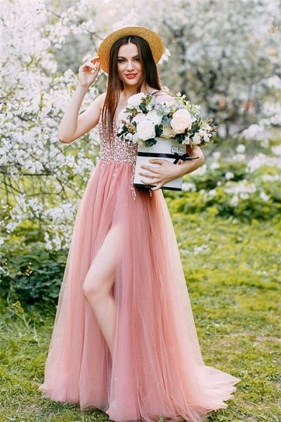 Awesome Beading V-Neck Tulle Evening Dress_1