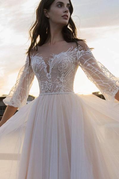 Eye-catching Lace Tulle Chapel Train Wedding Dress_4