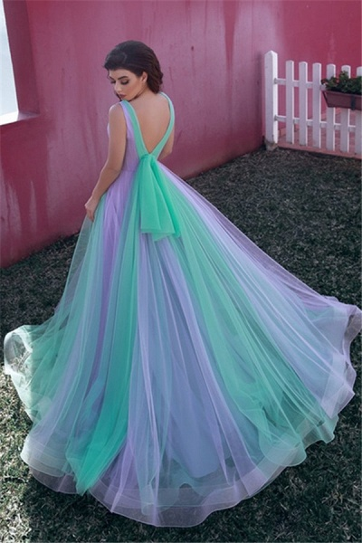 Best V-neck Tulle A-line Evening Dress_2