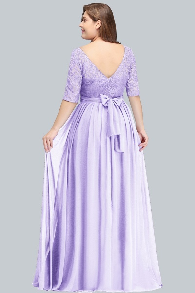 BM0952 Plus Size Elegant Half-Sleeves Lace Bridesmaid Dresses with Bow_3