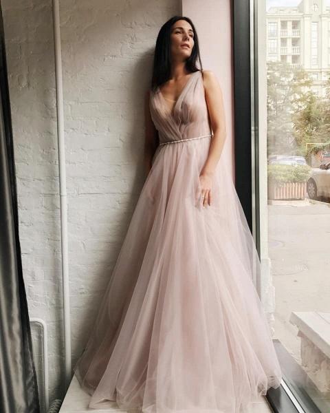 Affordable V-neck Tulle A-line Evening Dress_4
