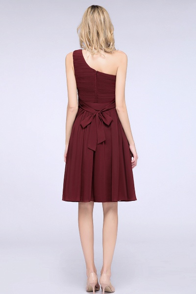 A-Line Chiffon One-Shoulder Sleeveless Knee-Length Bridesmaid Dress with Ruffles_2