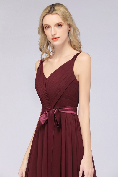A-Line Chiffon Straps V-Neck Sleeveless Backless Floor-Length Bridesmaid Dress with Ruffles_40